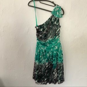 NineWest, green & gray, one shoulder dress. Size 8